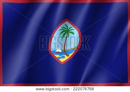 Guam realistic flag. Patriotic symbol in official country colors. Illustration of Oceania state flag. Vector icon