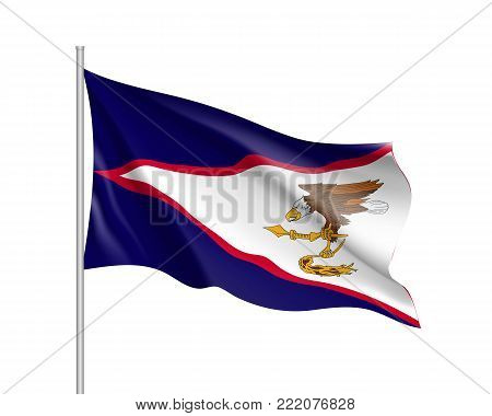 Waving flag of American Samoa. Illustration of Oceania country flag on flagpole. Vector 3d icon isolated on white background