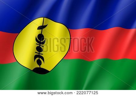 New Caledonia realistic flag. Patriotic symbol in official country colors. Illustration of Oceania state flag. Vector icon