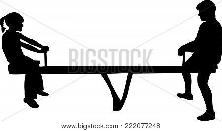 two kids playing on seesaw, silhouette vector