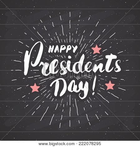 Happy President's Day Vintage USA greeting card, United States of America celebration. Hand lettering, american holiday grunge textured retro design vector illustration