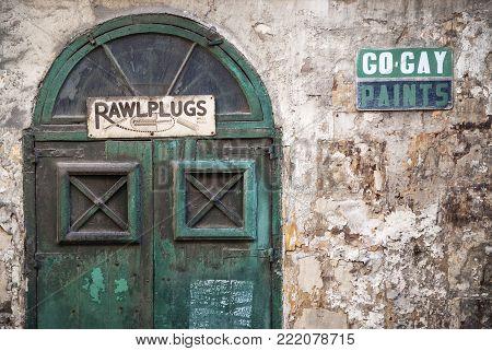 vintage retro design architecture in la valletta old town street malta