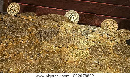 Pirate coins treasure background illustration. 3D render.