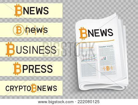 Bitcoin blockchain news logo set collection. Mining internet currency press. Financial business crypto electronic currency. Modern and future internet money symbol