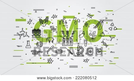 GMO research vector illustration with colorful elements. Genetically modified organism GMO line art concept.