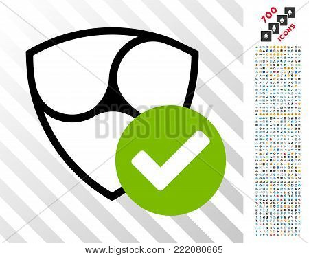 Nem Valid icon with 7 hundred bonus bitcoin mining and blockchain pictures. Vector illustration style is flat iconic symbols design for bitcoin software.