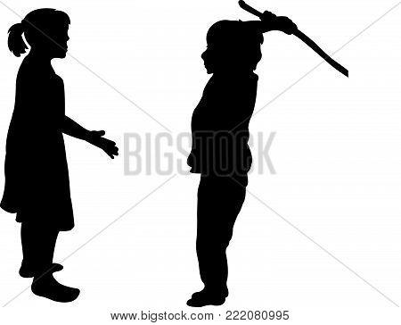 a boy kicking the girl, silhouette vector
