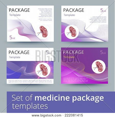 Medicine package template design with realistic human spleen. Vector illustration.