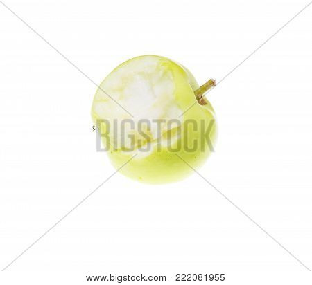 bitten apple on a white background . Photos in the studio