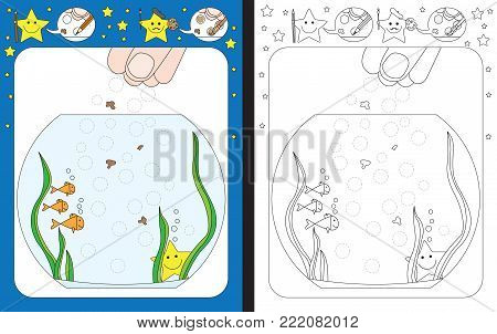 Preschool worksheet for practicing fine motor skills - tracing dashed lines of food for goldfish
