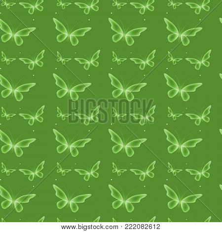 Glowing background with magic  butterflies.Transparent butterfly on green background.