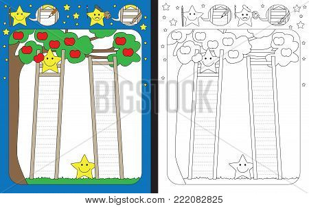 Preschool worksheet for practicing fine motor skills - tracing dashed lines of ladders