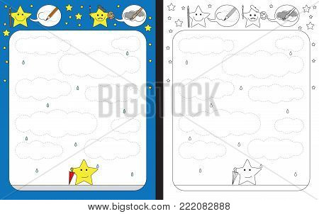 Preschool worksheet for practicing fine motor skills - tracing dashed lines of clouds