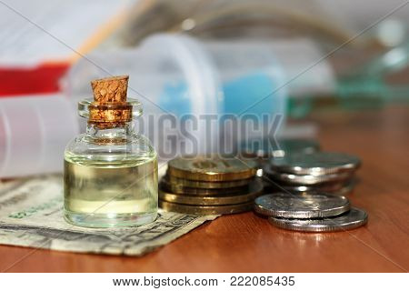 Solution For Inhalation In The Glass And Money