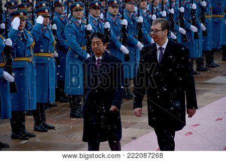 Belgrade, Serbia. January 15th 2018 - Japanese Prime Minister Shinzo Abe in official visit to Republic of Serbia. Serbian officials welcomes Japanese Prime Minister