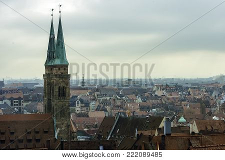 Cityscape from Nuremberg Castle on old town of Nurnberg and towers of St. Sebaldus Church, Nuremberg, Middle Franconia, Bavaria, Germany, Europe