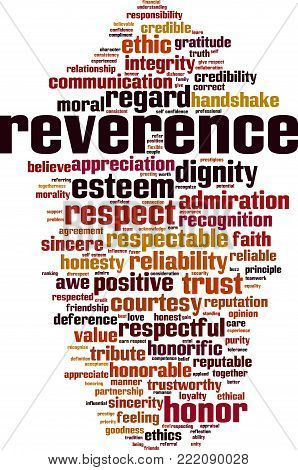 Reverence word cloud concept. Vector illustration on white