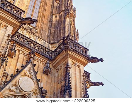Sculptures on the walls of St. Vitus Cathedral in Prague (Czech Republic). This Catholic cathedral is considered to be the pearl of European Gothic. Fragments of walls.