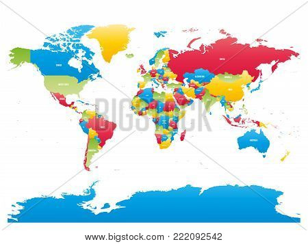 Colorful high detailed map of World. Vector illustration.