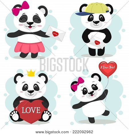 A set of illustrations of cute pandas on Valentine's Day in the style of a cartoon. A girl with a letter, in a cap and with a letter, with a heart and a crown, with a bow and a balloon against a light background. Vector, flat design.