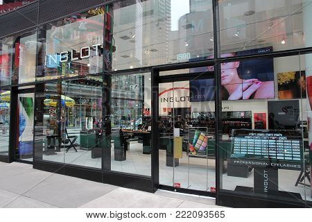 NEW YORK, USA - JULY 3, 2013: Inglot beauty store at Times Square, New York. Inglot is a prestigious Polish cosmetics brand with 400 stores in 50 countries.