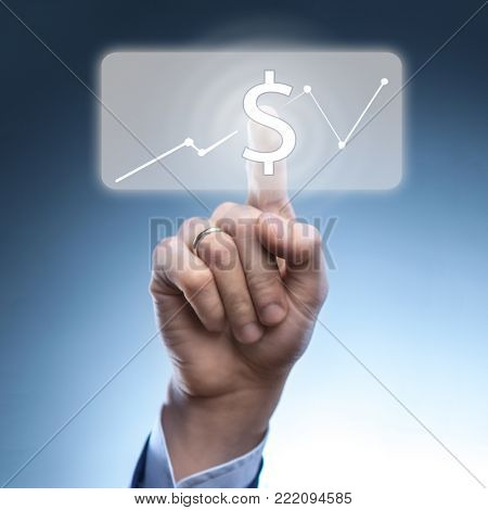 hand of a man pushing virtual online button with dollar icon