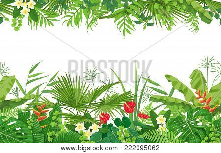 Horizontal line floral seamless pattern made with colorful leaves and flowers of tropical plants on white background.  Tropic rainforest foliage border. Vector flat illustration.