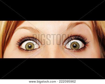 Beautiful girl, woman big green eyes looking isolated at you. close-up face, big eyelashes and eyebrows, macro shoot. Close-up portrait of surprised. Clean skin, fashion natural makeup. Good vision.