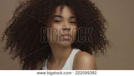 mixed race black woman portrait with big afro hair, curly hair in beige background. Face closeup