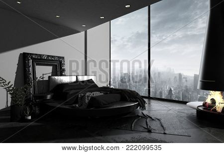 Penthouse bedroom in dark minimalism design, black bed, floor and rich baguette frame near grey wall. Wide window shows panoramic view to downtown