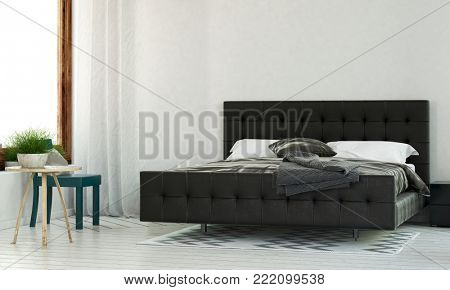 Bedroom in minimalist design with black king size bed, white walls and bedside tables near bright window