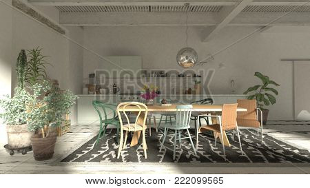 Open plan kitchen dining room interior with an eclectic collection of assorted dining chairs around a table, compact fitted kitchen and houseplants in a large white room. 3d render illustration