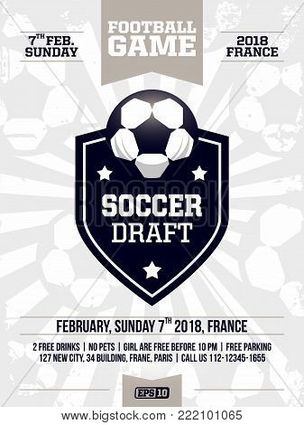 modern professional sports flyer design with soccer league in white theme.
