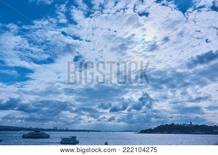 beautiful view of the sky, the sea and the city