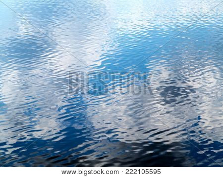Reflection Of Sky, Trees In Water Of Lake, River, Pond. As Bright Background For Any Your Art Projec