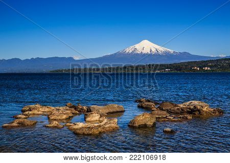 Scenic View Of Villarrica Volcano In Chile Patagonia Sunset