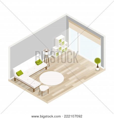 Room isometric design with sofa,coffee table,lamp,bookcase.City hotel flat illustration.Isometric living room with furniture.Isometric luxury interior for lounge with wood floor,big window,sofa, lamp