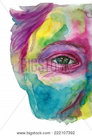 Watercolor drawing of a man's head smeared in paint, multi-colored face, portrait, opened eye, glare on iris eyes, on holiday holi, indian holiday, white background for decoration and decoration poster