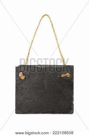 Close up of rectangle shape big black slate stone chalkboard sign hanging on jute rope twine isolated on white background poster