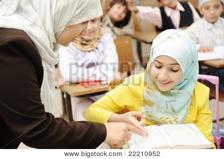 Education activities in classroom at school, happy children learning