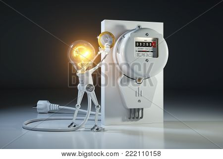 Cartoon Character Bulb Light Robot Pays Tariffs Utility In Kilowatt Hour Meter