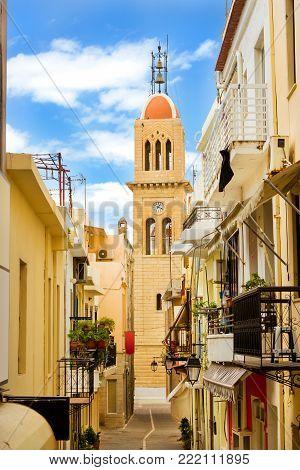 Touristic attraction Metropolitan Church. Religious landmark in the resort town. Walk the streets of old town. Mediterranean architecture on Crete, Rethymno, Greece