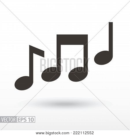 Music notes flat Icon. Sign music. Vector logo for web design, mobile and infographics. Vector illustration eps10. Isolated on white background.