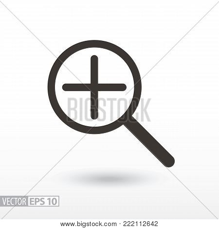 Magnifier flat Icon. Sign magnifying glass. Vector logo for web design, mobile and infographics. Vector illustration eps10. Isolated on white background.