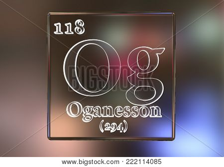 Oganesson, Og, a recently discovered synthetic chemical element included into the periodic table in 2016. 3D illustration