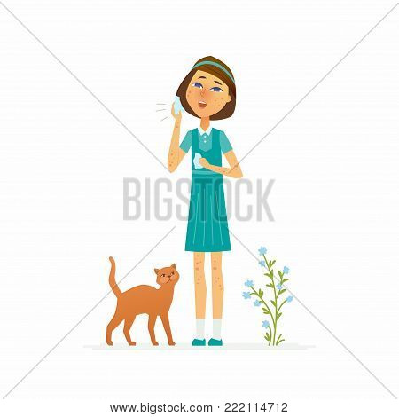 Girl with a rash - cartoon people characters isolated illustration on white background. An image of a schoolgirl suffering from skin disease or allergy, holding a handkerchief, a cat and a plant near