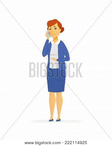 Woman with a toothache - cartoon people characters isolated illustration on white background. A young person in official clothes pressing a handkerchief to her cheek. Medical, healthcare theme