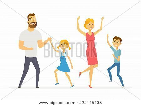 Happy family dancing - modern cartoon people characters illustration on white background. A young pretty mother with two children, boy and girl, and a handsome husband moving and laughing together