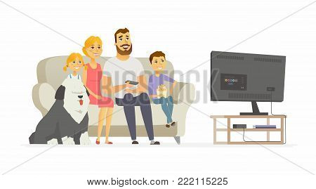 Happy family watching TV - modern cartoon people characters illustration isolated on white background. Mother with two children, husband, bobtail dog sitting together on a sofa, having a good time