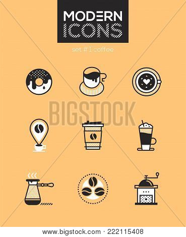 Coffee - set of line design style icons isolated on brown background. High quality images for a cafe, restaurant or shop. Donut, paper cup, art, bean, check-in, drink to go, latte, cezve, grinder